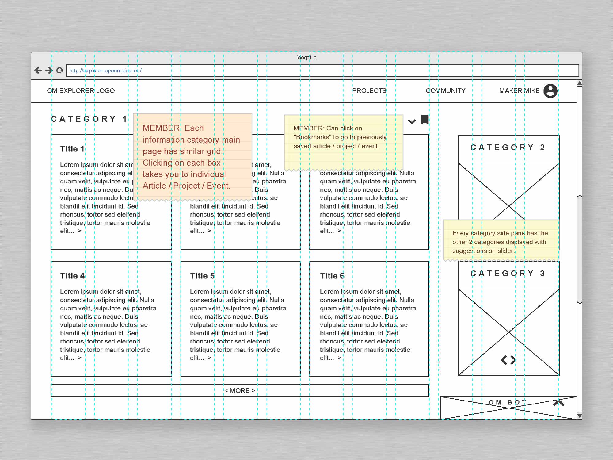 Open Maker User Interface Category Wireframe