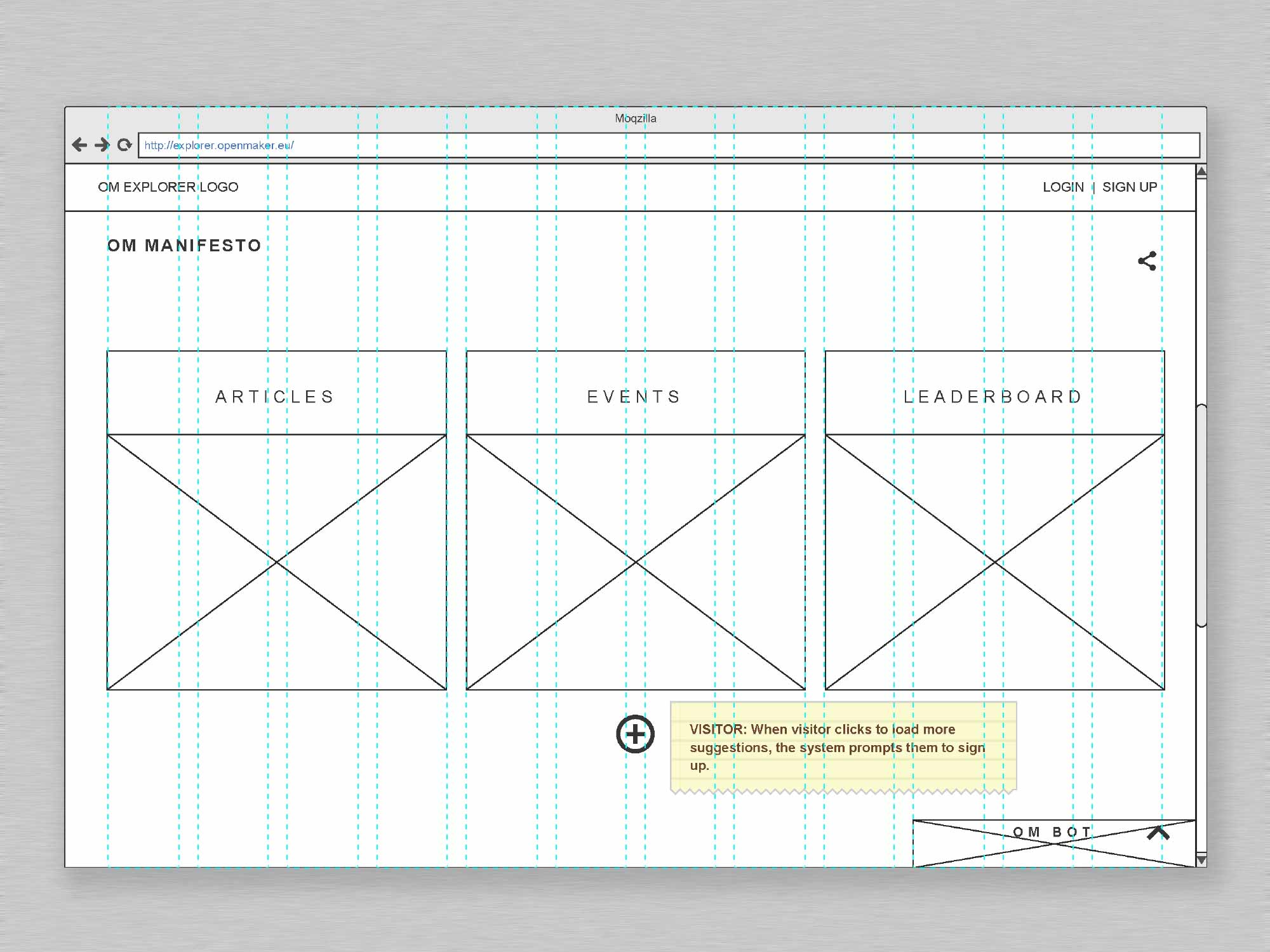 Open Maker User Interface Landing Wireframe